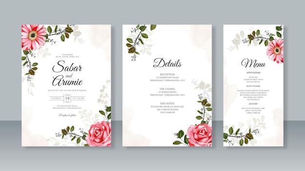 Modelo de conjunto de convite de cartão de casamento com pintura em aquarela de rosa vermelha