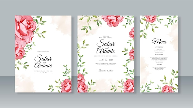 Modelo de conjunto de convite de cartão de casamento com pintura em aquarela floral