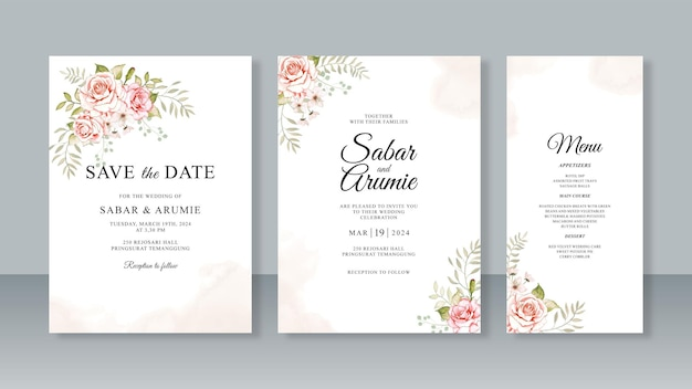Modelo de conjunto de convite de cartão de casamento minimalista com aquarela floral e splash