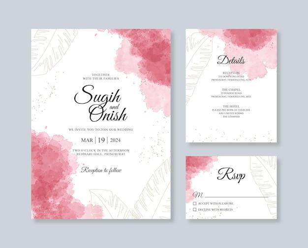 Modelo de conjunto de convite de cartão de casamento minimalista