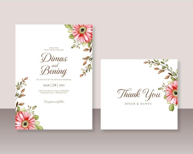 Modelo de conjunto de convite de casamento com aquarela floral