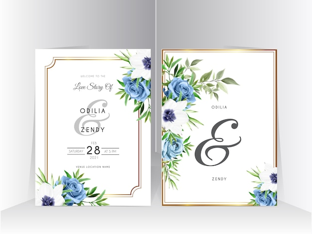 Modelo de conjunto de convite de casamento com elegante design de rosa azul royal