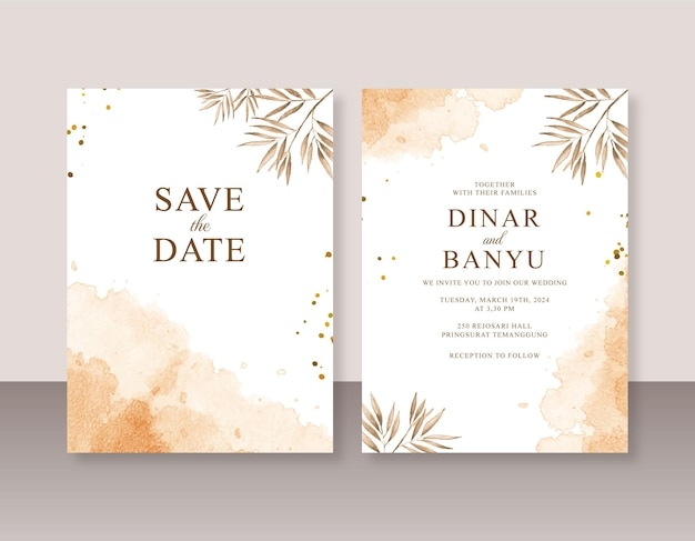 Modelo de conjunto de convite de casamento com respingos de aquarela abstratos