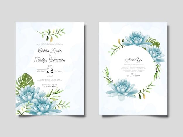 Modelo de conjunto de convite de casamento de lótus azul desenhado à mão