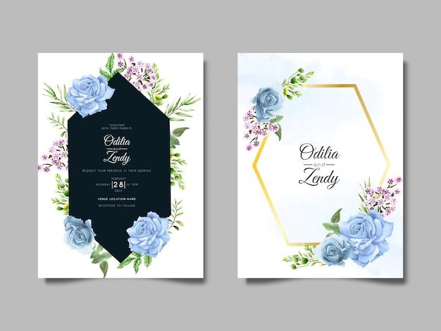 Modelo de conjunto de convite de casamento desenhado à mão com rosas azuis