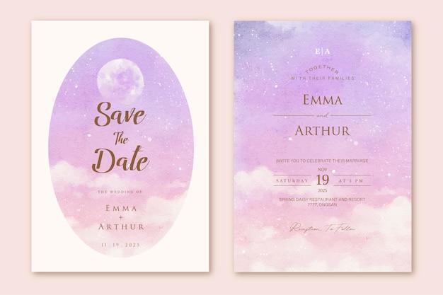 Modelo de conjunto de convite de casamento em aquarela de céu roxo