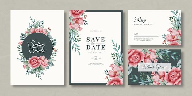 Modelo de conjunto de convite de casamento floral em aquarela