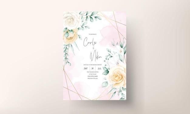 Modelo de conjunto de convites de casamento floral em aquarela elegante