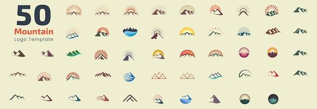 Modelo de conjunto de design de logotipo de montanha. elementos gráficos adequados para logotipos representam natureza e liberdade