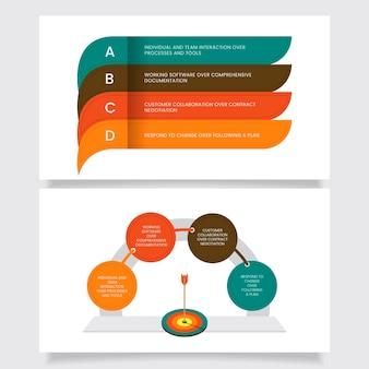 Modelo de conjunto de elementos ágeis infográfico