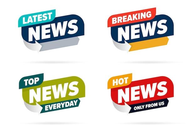 Modelo de conjunto de etiqueta de informações de notícias de transmissão para mídia de televisão.