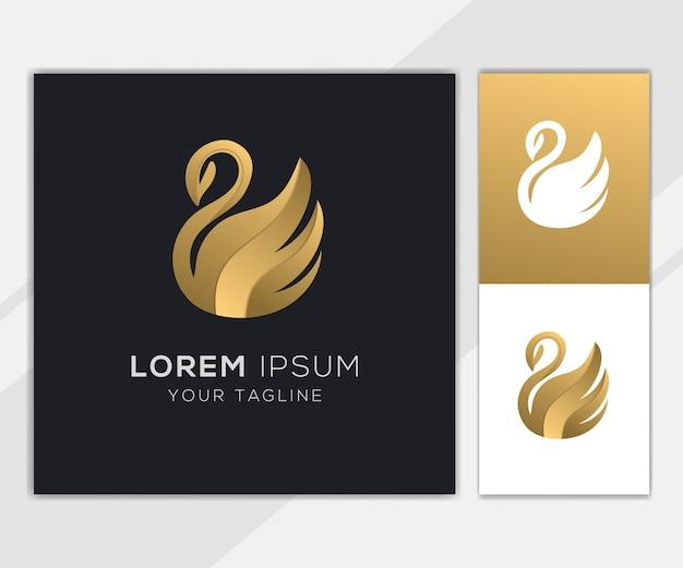 Modelo de conjunto de logotipo abstrato cisne dourado
