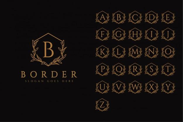Modelo de conjunto de logotipo de alfabeto de letra de borda de quadro