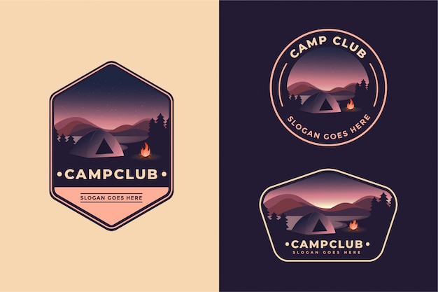 Modelo de conjunto de logotipo de aventura de acampamento ao ar livre
