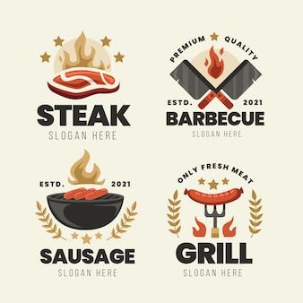 Modelo de conjunto de logotipo de churrasco detalhado