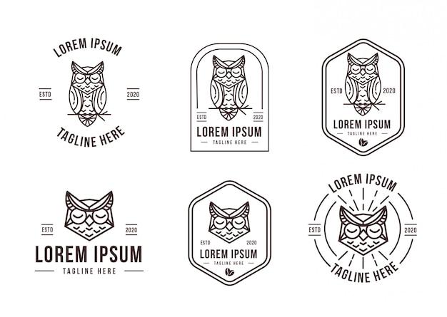 Modelo de conjunto de logotipo de coruja lineart
