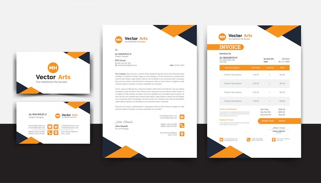 Modelo de conjunto de papelaria comercial, design de identidade corporativa