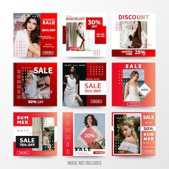 Modelo de conjunto de post de mídia social de venda de verão