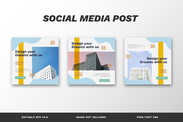 Modelo de conjunto de postagens do instagram de arquitetura