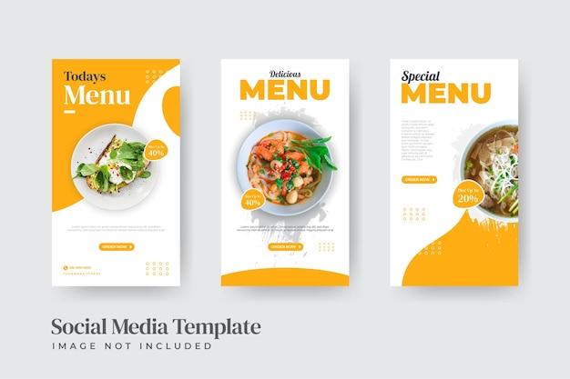 Modelo de conjunto de postagens do instagram para restaurante de comida instantânea