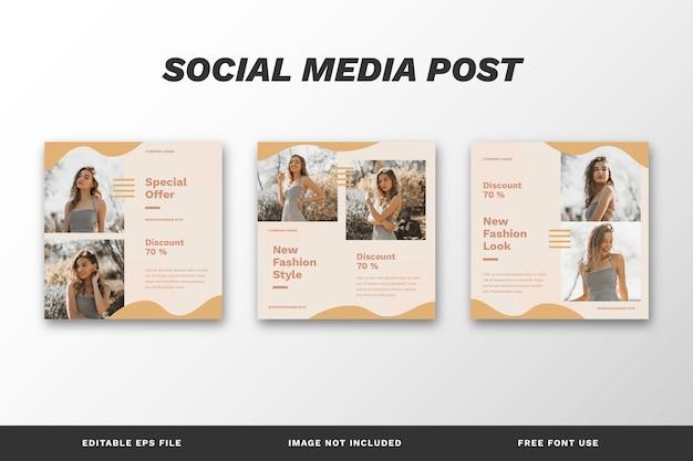 Modelo de conjunto de postagens para mídia social de estilo de moda