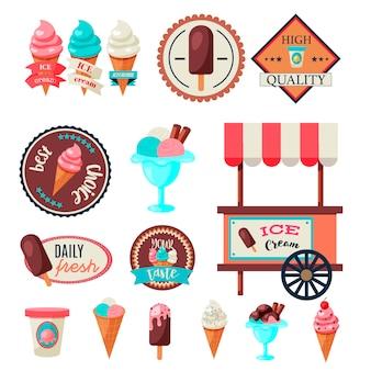 Modelo de conjunto de rótulo de sorvete vintage