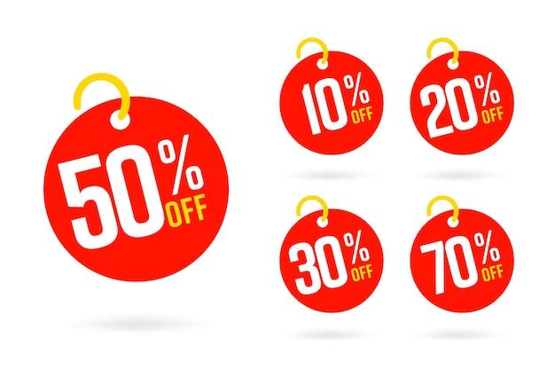 Modelo de conjunto de tags de venda com 50, 10, 20, 30, 70 por cento de desconto.