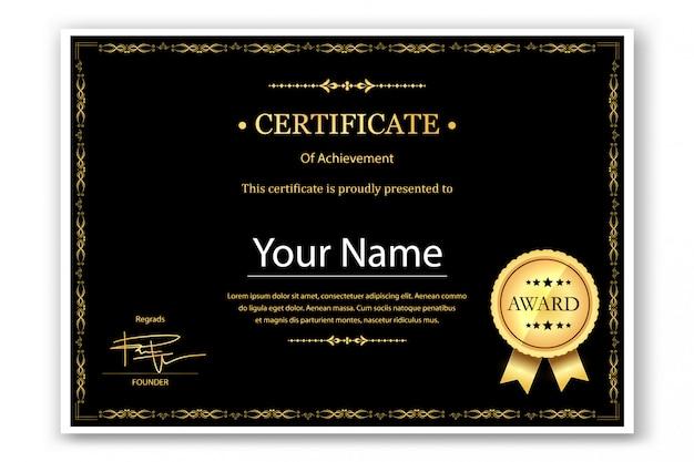 Modelo de conquista de certificado em preto
