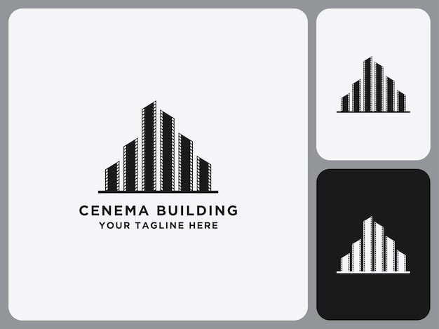 Modelo de construção de ícone de logotipo de cinema em película de filme preta plana Vetor Premium