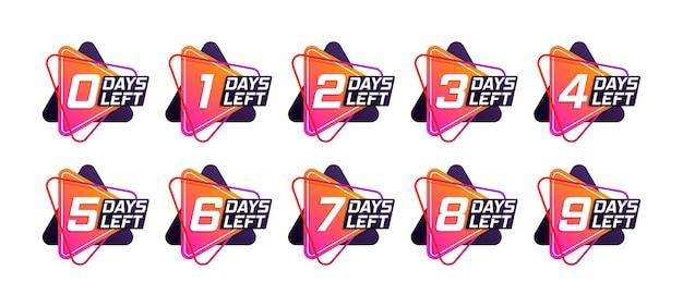 Modelo de contagem regressiva do número de dias restantes. banner promocional com faltam dias. vetor.