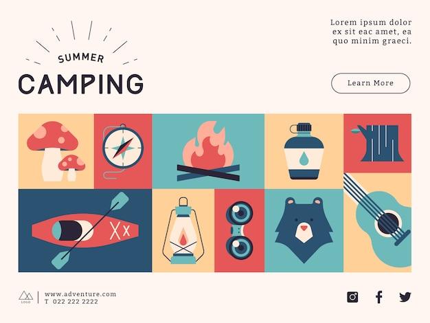 Modelo de conteúdo de mídia social de acampamento