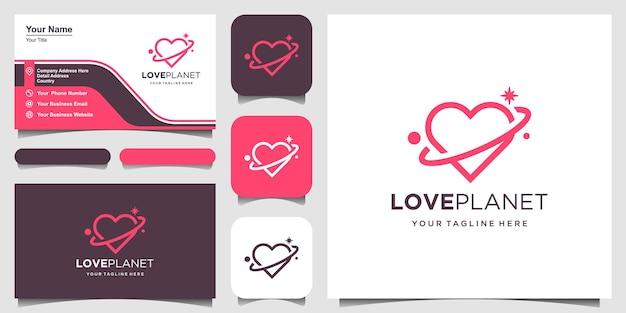 Modelo de contorno de logotipo planeta amor