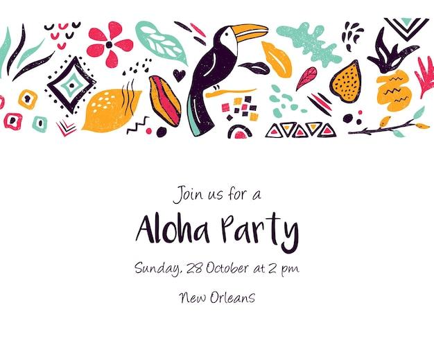 Modelo de convite, banner, cartão com elementos florais e étnicos. para chá de bebê, festa de aniversário, festa