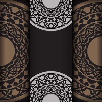 Modelo de convite com espaço para o seu texto e padrões vintage. desenho vetorial luxuoso de cartão postal na cor preta com padrões gregos.