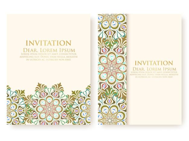 Modelo de convite com ornamentos abstratos