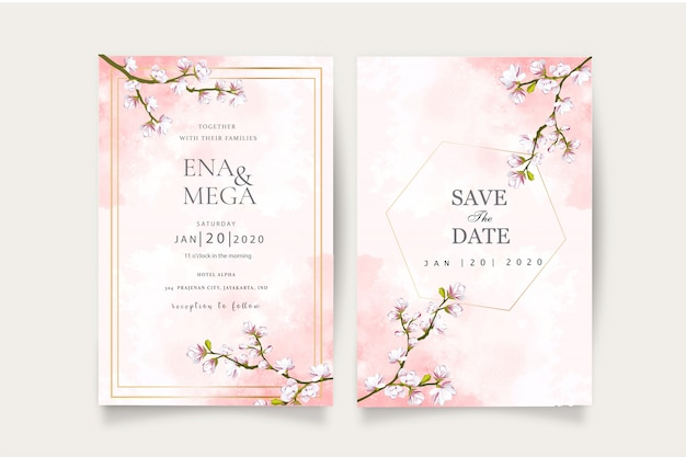 Modelo de convite conjunto de casamento elegante flor de cerejeira