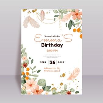 Modelo de convite de aniversário boho em aquarela