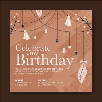 Modelo de convite de aniversário boho