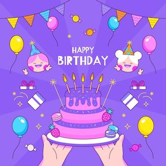 Modelo de convite de aniversário colorido desenhado à mão