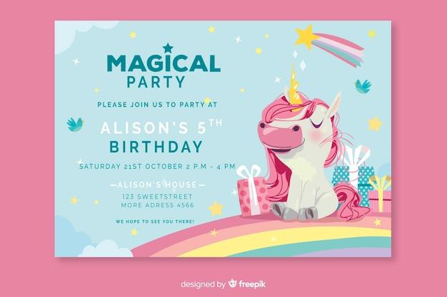 Modelo de convite de aniversário colorido