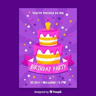 Modelo de convite de aniversário com bolo