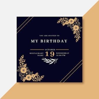 Modelo de convite de aniversário com enfeites florais