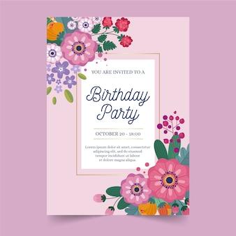Modelo de convite de aniversário com flores