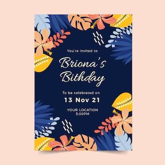 Modelo de convite de aniversário com folhas tropicais