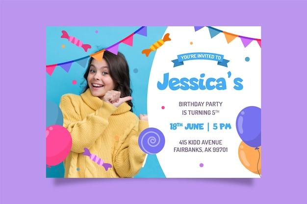 Modelo de convite de aniversário com foto