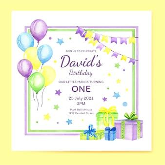 Modelo de convite de aniversário com presentes