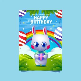 Modelo de convite de aniversário de animais de desenho animado