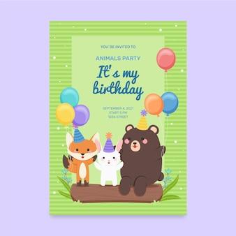 Modelo de convite de aniversário de animais