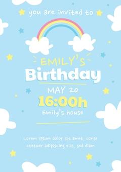 Modelo de convite de aniversário de arco-íris de desenho animado