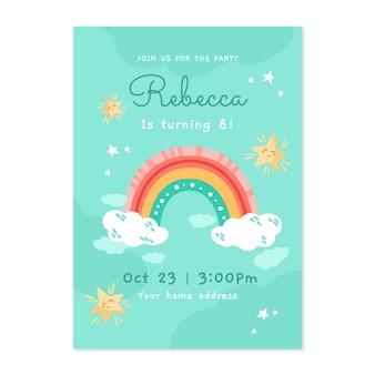 Modelo de convite de aniversário de arco-íris desenhado à mão